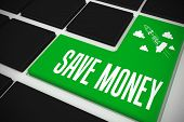 The word save money and idea and innovation graphic on black keyboard with green key poster