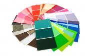 color samples for painting in circle over white background poster
