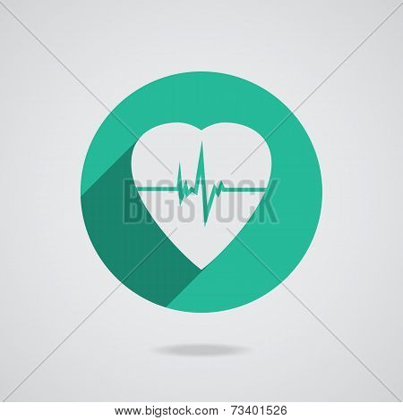 Defibrillator Heart Icon Isolated On Teal Background. Vector