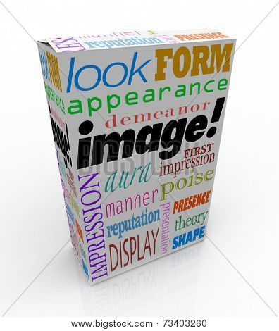 Image words on a product or package box to illustrate the importance of making a good first impression or appearance
