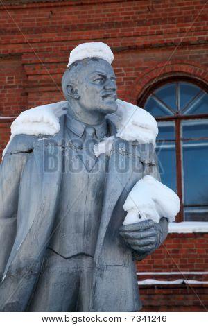 Neglected Monument Of Vladimir Lenin At Winter
