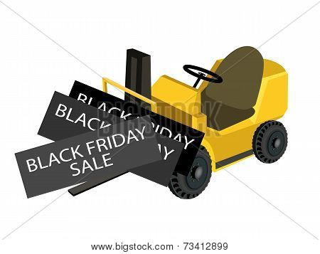 A Forklift Truck Loading Black Friday Card