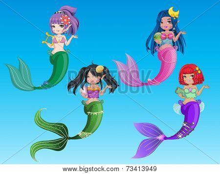 beautiful character mermaid and  ocean 4 mermaid vector. poster