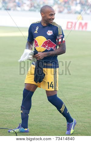 CARSON, CA - SEPT 28:  Thierry Henry during the Los Angeles Galaxy MLS game against the New York Red Bulls on Sept 28th 2014 at the StubHub Center.