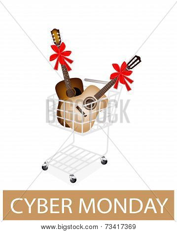 Guitar With Red Ribbon In Cyber Monday Shopping Cart