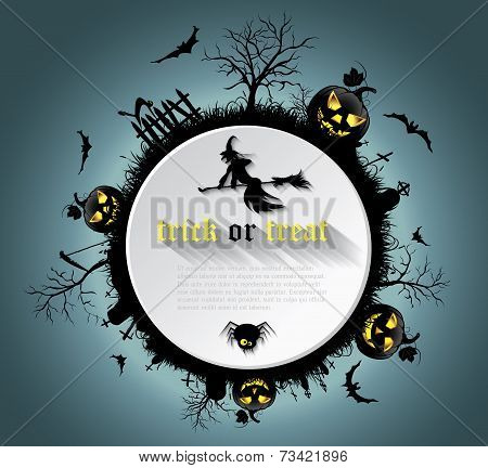 Abstract Halloween Background  With  Graveyard, Witch, Pumpkin, Bats And Text Place