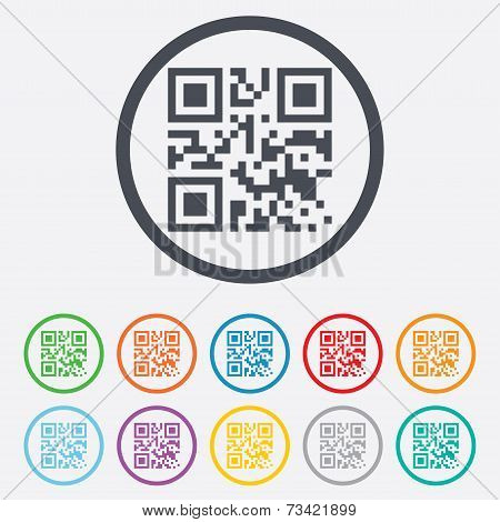 Qr code sign icon. Scan code symbol.