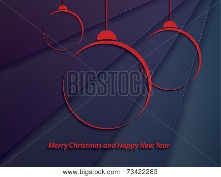 Christmas Background With Red Christmas Balls On Abstract Background