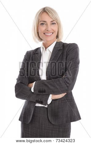 Portrait: Beautiful older isolated businesswoman wearing costume and blouse.