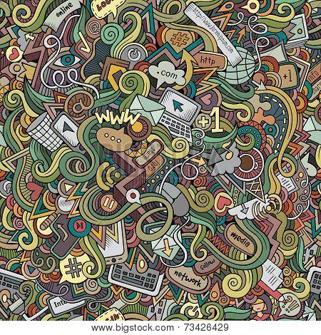 doodles internet social media seamless pattern