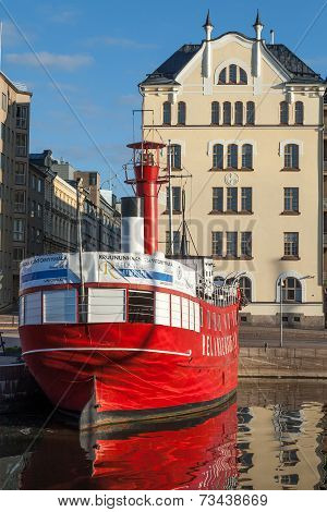 Historic Red Relandersgrund Lightship In Helsinki