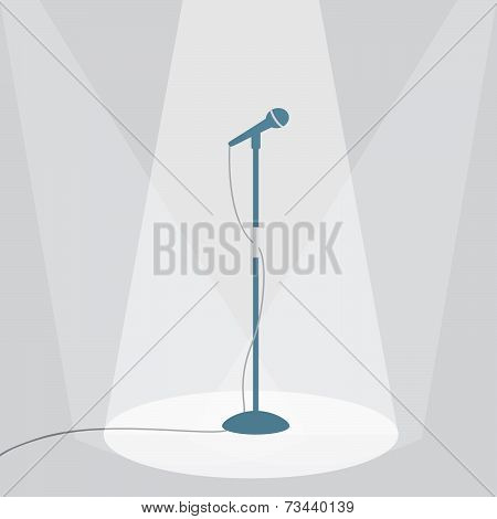 The Microphone On The Stage Under The Spotlights