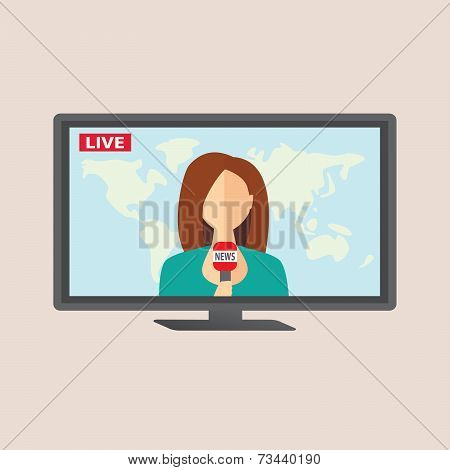 Television Anchorwoman At Studio During Live Broadcasting