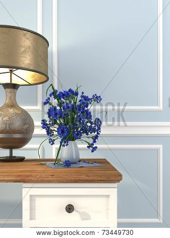 Vintage Table And Table Lamp On A Background Of Blue Wall
