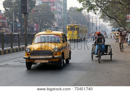 KOLKATA, INDIA-FEBRUARY 15: The classical ambassador cab is the unique style of taxi service that imported from British civilization on February 15, 2014 in Kolkata, India.