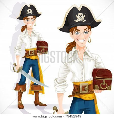 Cute pirate with cutlass and chest