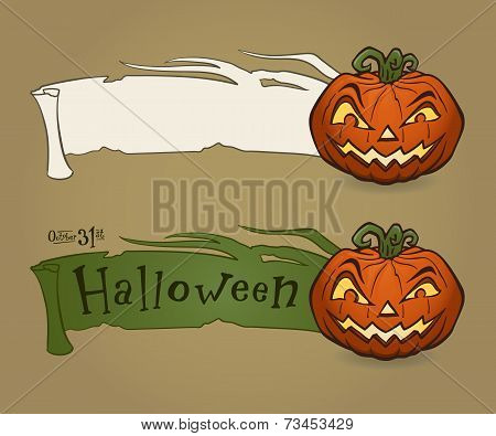 Vector illustration of Halloween pumpkin with ribbon