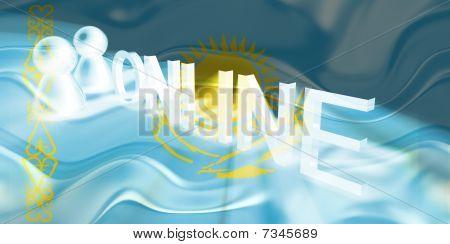 Flag Of Kazakhstan Wavy Online
