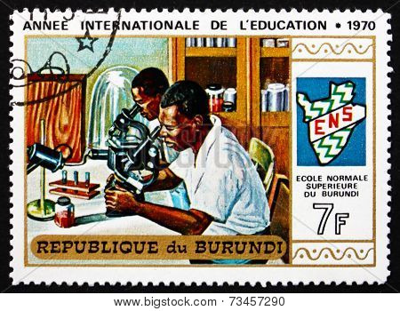 Postage Stamp Burundi 1970 Students In Laboratory