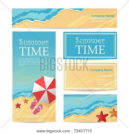 Vector card company travel agency template. Travel template for corporate identity and branding set vector illustration poster