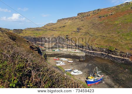 Boscastle harbour North Cornwall between Bude and Tintagel England UK on a beautiful sunny blue sky