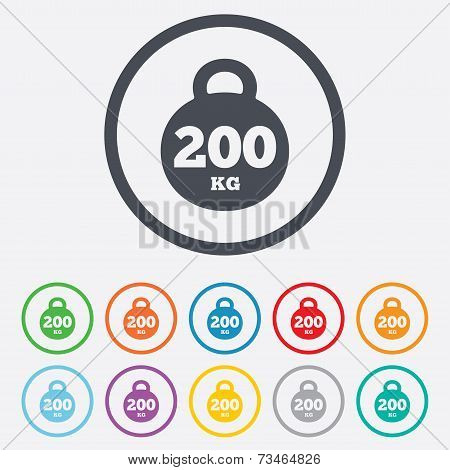 Weight sign icon. 200 kilogram. Sport symbol