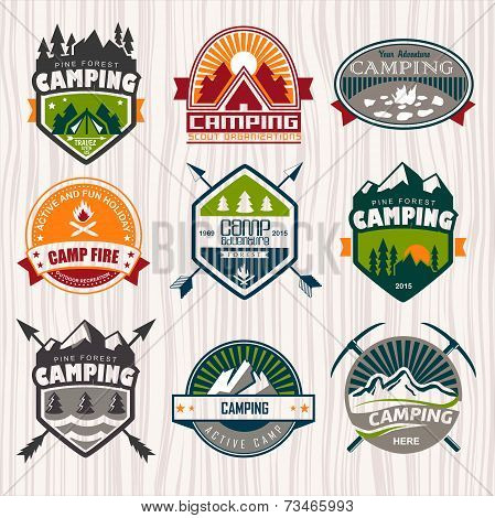 Camping logo, labels and badges. Travel emblems poster