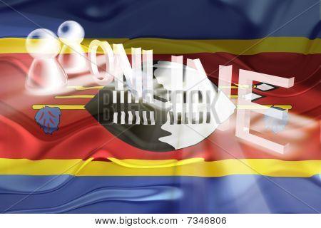 Flag Of Swaziland Wavy Online