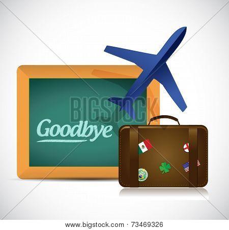Goodbye Travel Sign Illustration Design