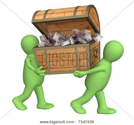Two Puppets With Wooden Box