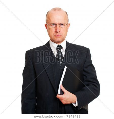 portrait of serious business man with documents. isolated on white background poster