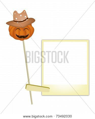 Halloween Pumpkin in Cowboy Hat with Blank Photos