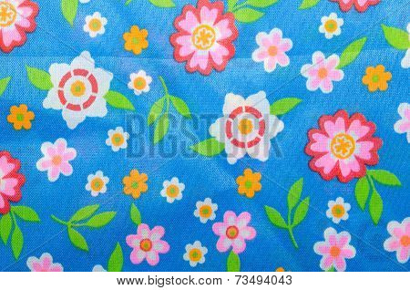 Print Fabric With Many Flowers