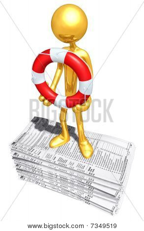 Gold Guy With Life ring On Tax Forms