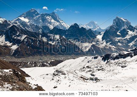 Famous Peaks Everest, Lhotse,  Nyptse At Sunny Day. Himalayas