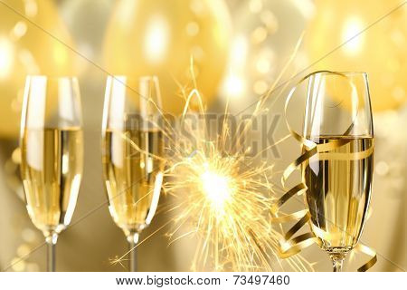 Glasses of champagne and fireworks,new year celebration.