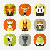 Stylized animal avatar set in flat style. Dog panda squirrel bird sheep elephant goat crocodile. Bright colors poster