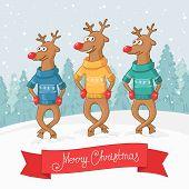 three deer dance. Winter forest landscape. Postcard Merry Christmas. Vector poster