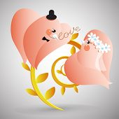 Two doves with lover letter Retro styled illustration poster