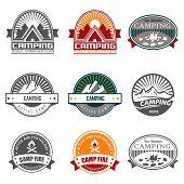 Camping logo, labels and badges. Travel emblems poster