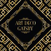 gold and black art deco gatsby style background poster