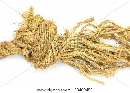 Closeup Jute Rope On White Background