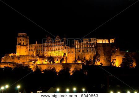 The heidelberger red castle by night