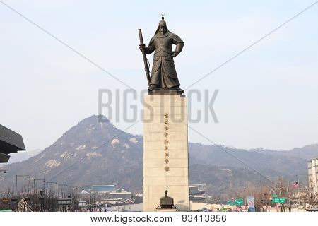 Statue of the Admiral Yi Sun-Sin in downtown Seoul, South Korea poster