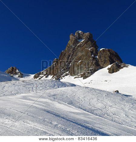 Ski Slope And Mountain Peak