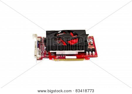 Red Graphic Card with Fan on white background