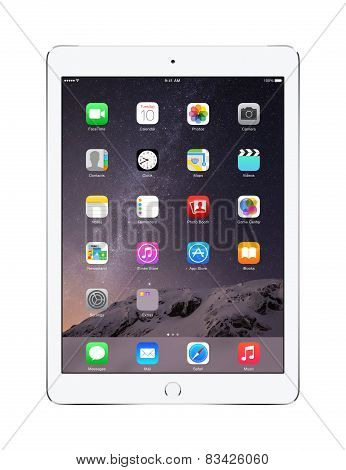 Apple Silver Ipad Air 2 With Ios 8, Designed By Apple Inc.