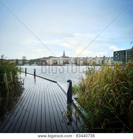 View over Sodermalm district of Stockholm Sweden. poster