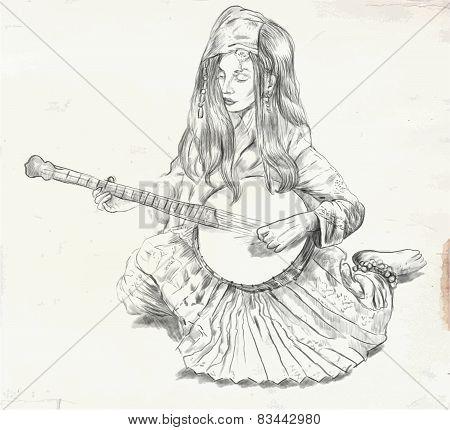 Banjo Player - Vector Illustration (converted)