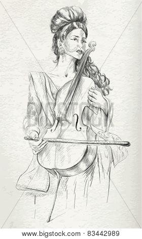 Violoncello Player - Vector Illustration (converted)